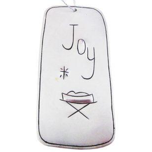 tin joy manger ornament