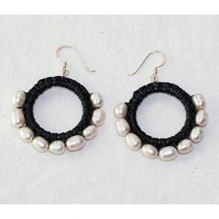 silver pearl hoop earrings