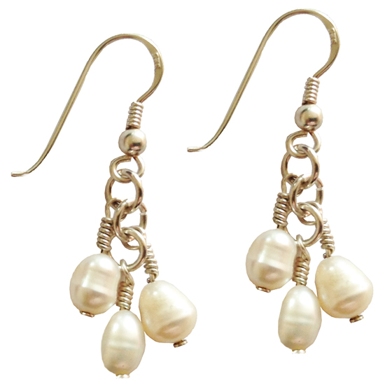 silver pearl icicle earrings