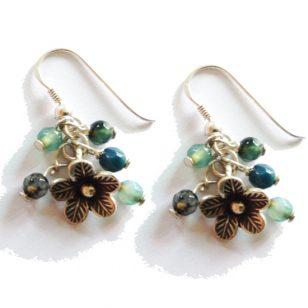 silver bouquet earrings